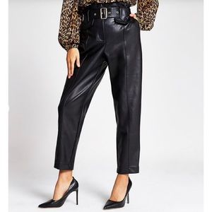 Zara black faux leather trousers paper bag pants